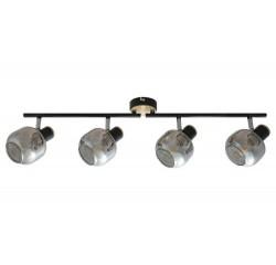spot lamp, black+oak pattern, smoke glass E14 4X MAX 40W