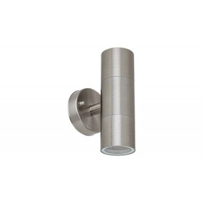 Zagreb, outdoor wall lamp, stainless steell, GU10 2X MAX 12W, IP44, bulb Excl.